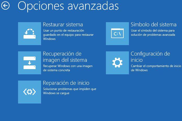 Opciones de arranque de Windows 10