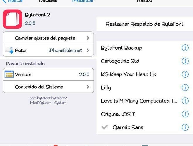 Cómo cambiar las fuentes en el iPhone, iPad y iPod Touch con el tweak BytaFont
